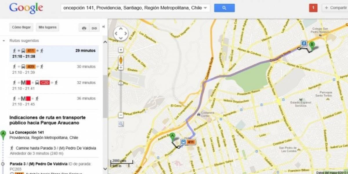 Chile: Google lanza Transit, la capa de transporte público en Santiago para Google Maps