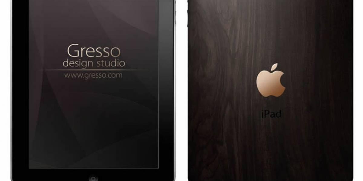 Elegante carcasa para iPad de madera y oro, óptima para sueldos reguleques