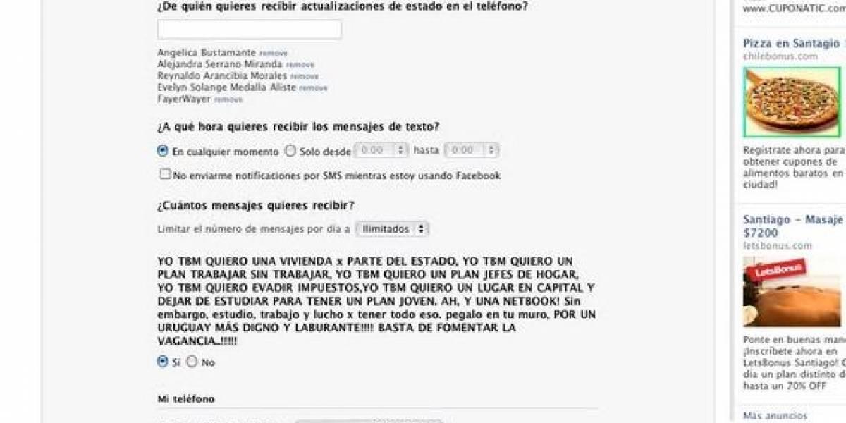 Grupo Uruguayo hackea sección móvil de Facebook