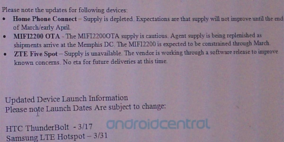 El HTC Thunderbolt podría llegar la próxima semana