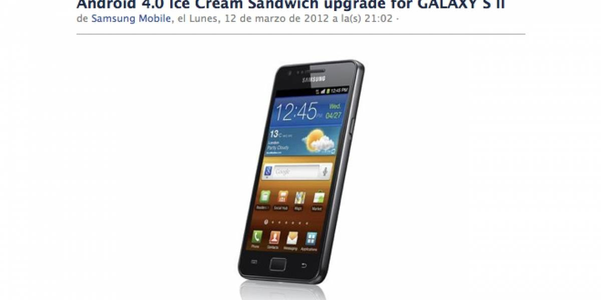 Ahora sí: Ice Cream Sandwich llega al Samsung Galaxy S II