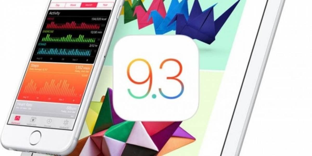 Apple libera iOS 9.3 con grandes novedades de seguridad e interfaz
