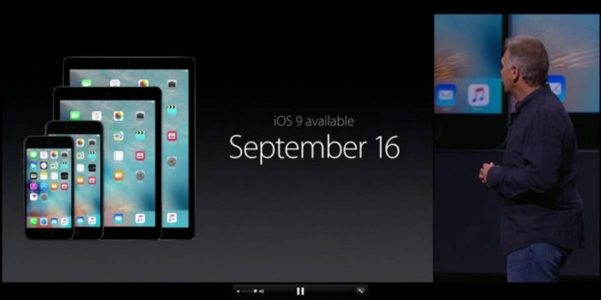 iOS 9 se lanza el 16 de septiembre