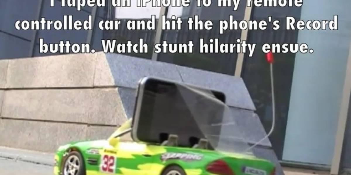 Jamás le presten su iPhone 4 a un niño con un auto radiocontrolado