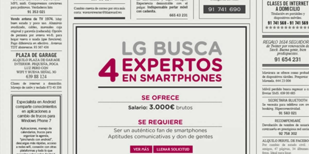 España: LG busca expertos en smartphones para promocionar Optimus One y Optimus 7