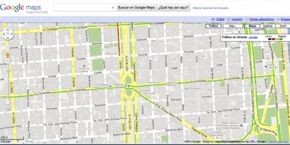 Argentina: Google Maps permite ver cómo está el tránsito en Buenos Aires