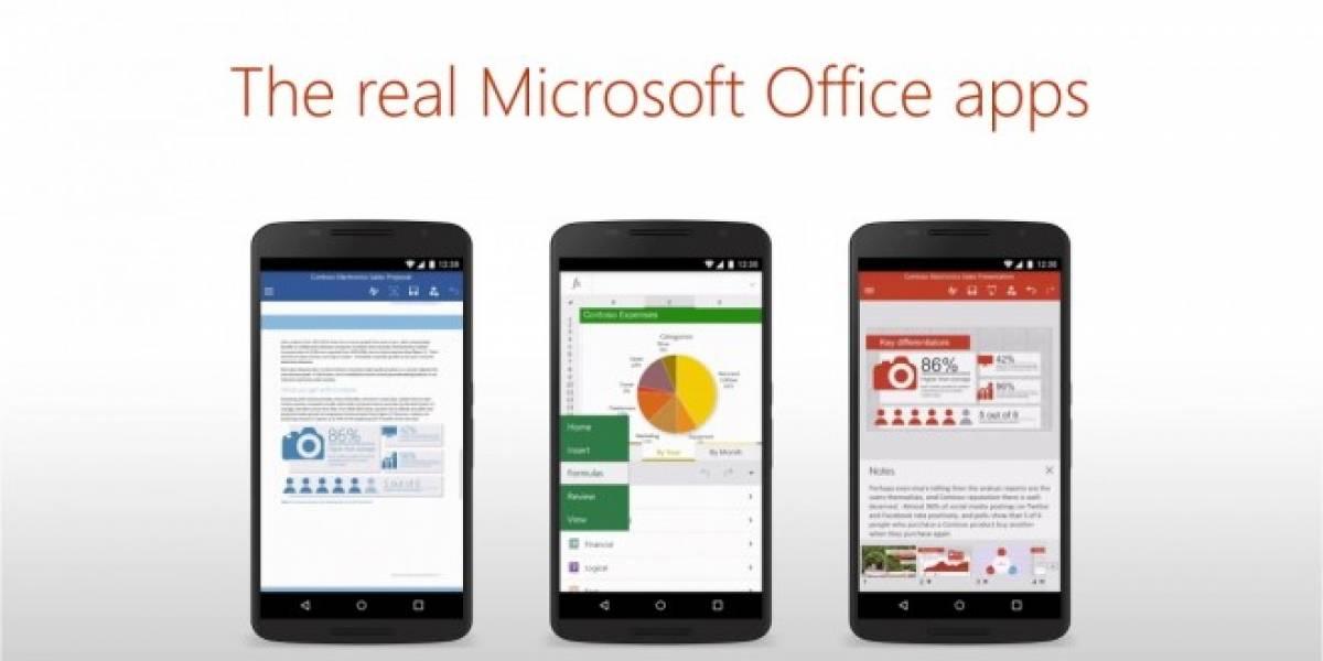 Microsoft Word, Excel y PowerPoint ya están disponibles para smartphones Android