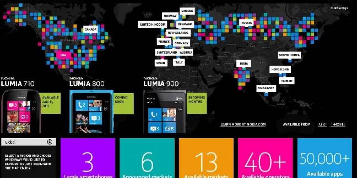 América Latina (aún) no aparece en el mapa de Nokia que muestra los Lumia en el mundo