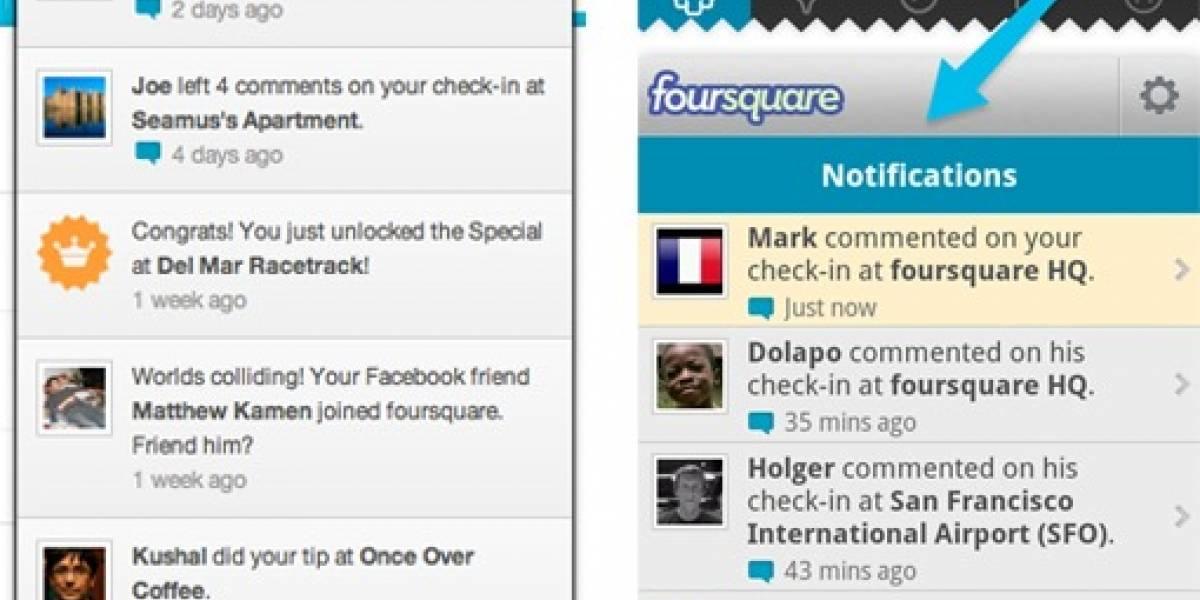 """Foursquare lanza nuevo sistema """"más social"""" de notificaciones para Android y la web"""