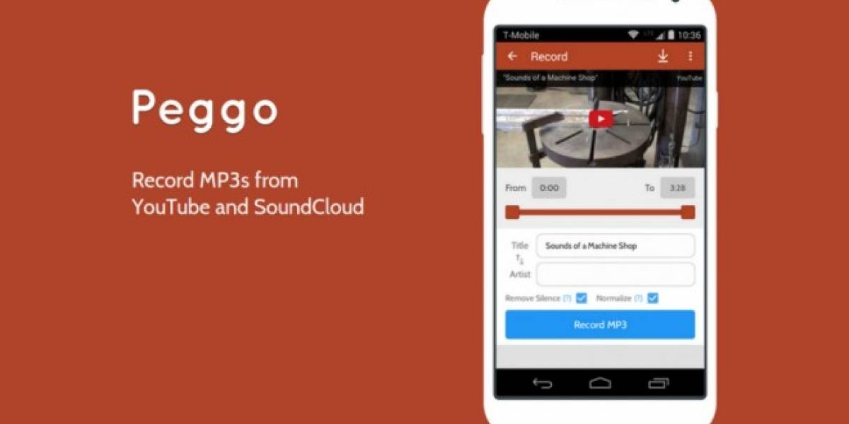 Peggo te permite grabar MP3 desde Soundcloud y YouTube en Android