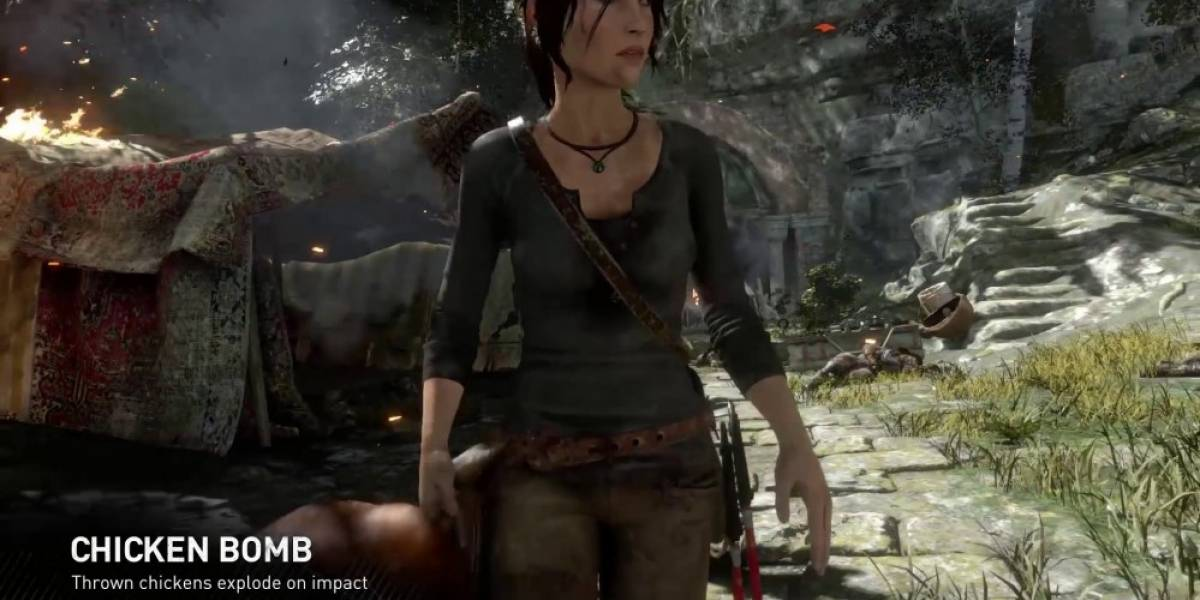 Lara Croft atacará con gallinas explosivas en Rise of the Tomb Raider