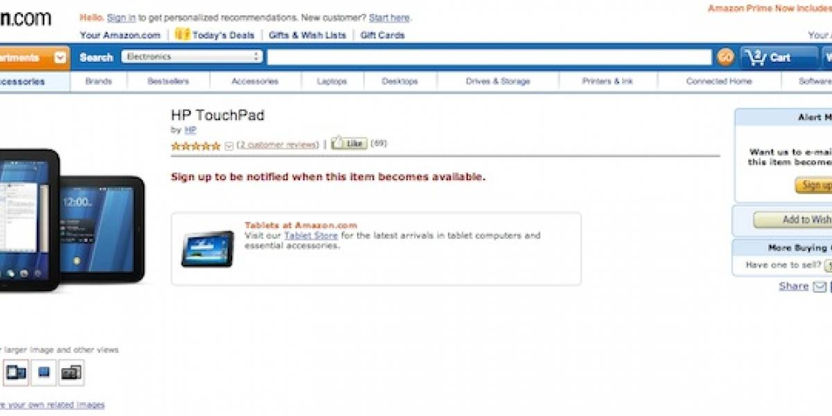 El HP TouchPad ya está en Amazon, pero no puedes comprarlo