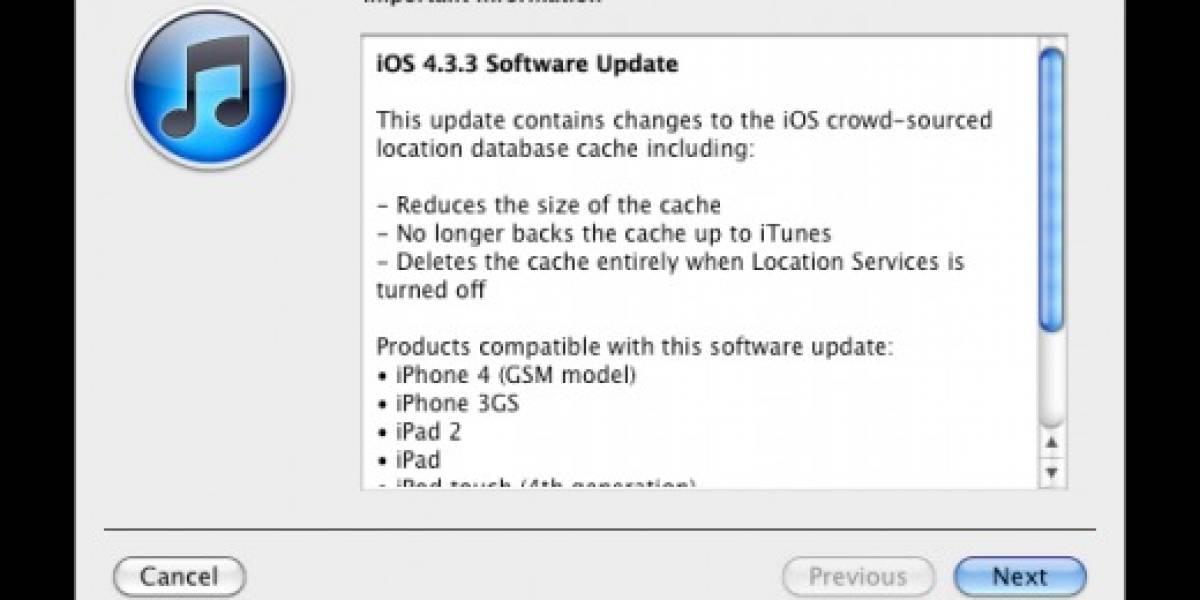 Apple lanza iOS 4.3.3, que soluciona problema de rastreo