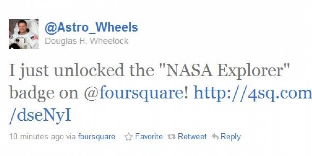 Astronauta se anota en Foursquare desde el espacio