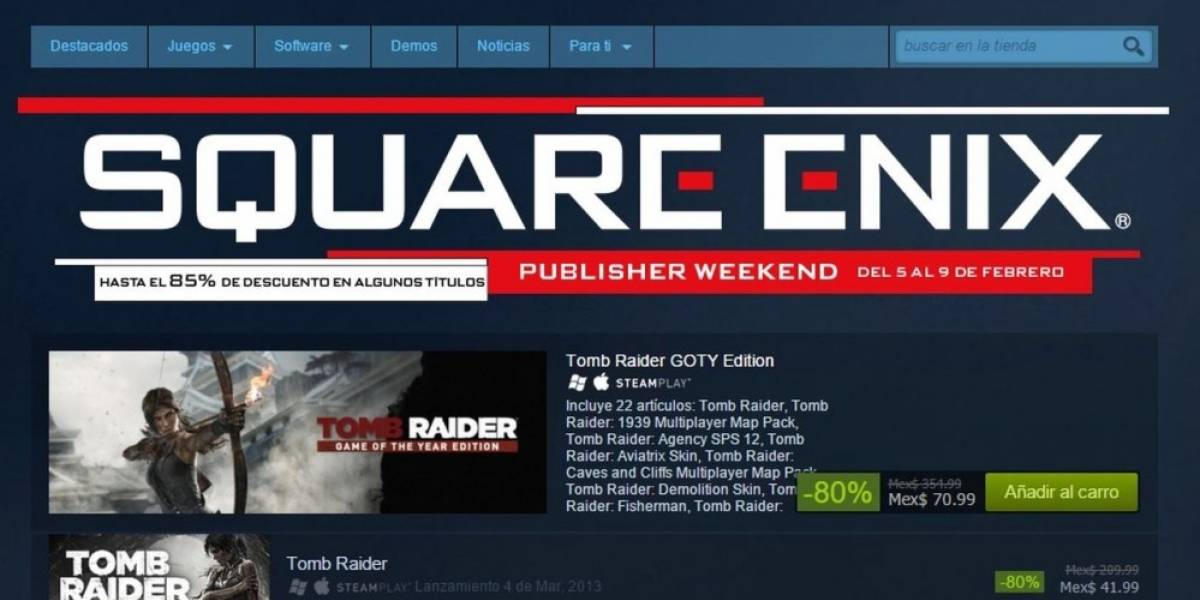 Venta especial de Square Enix en Steam