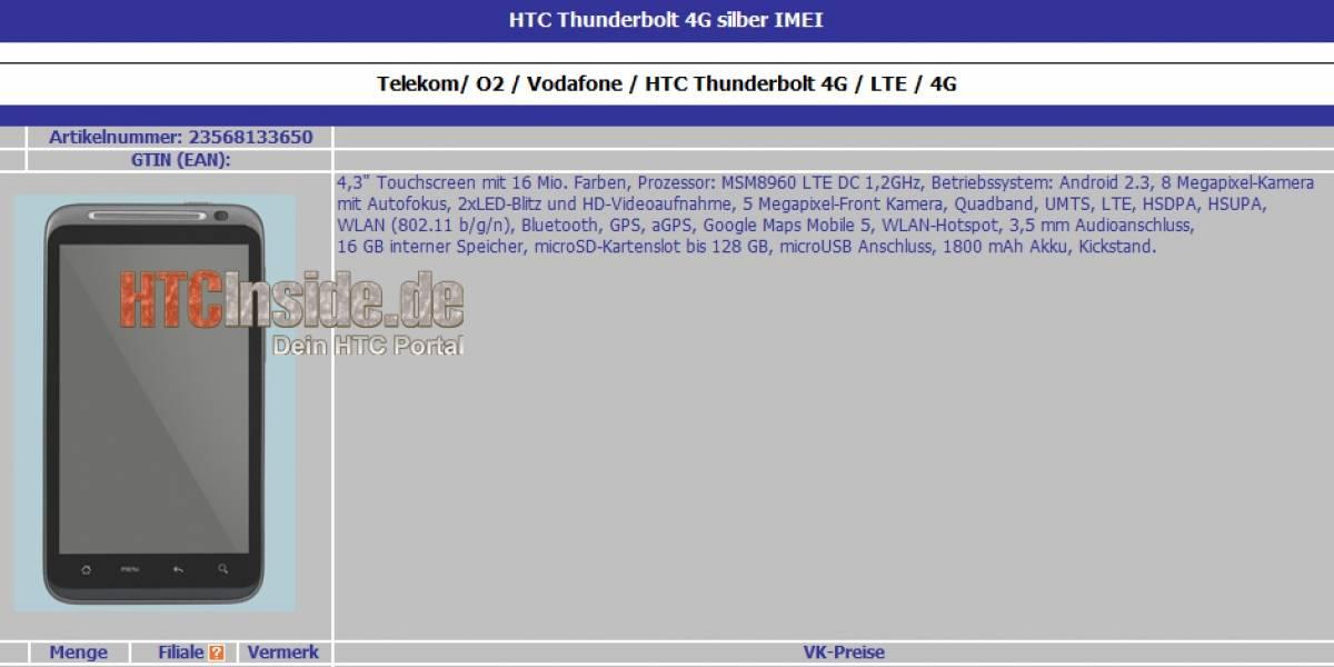 Filtración de características técnicas del HTC Thunderbolt asustan