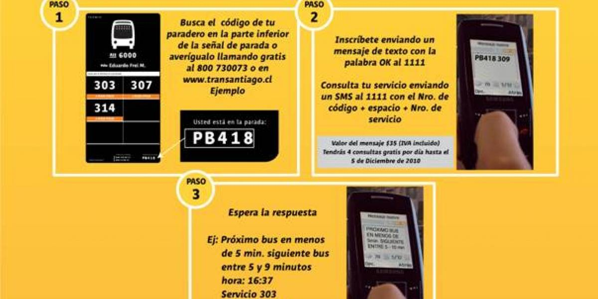 Chile: Transantiago lanzó servicio SMS para consultar paso del próximo bus