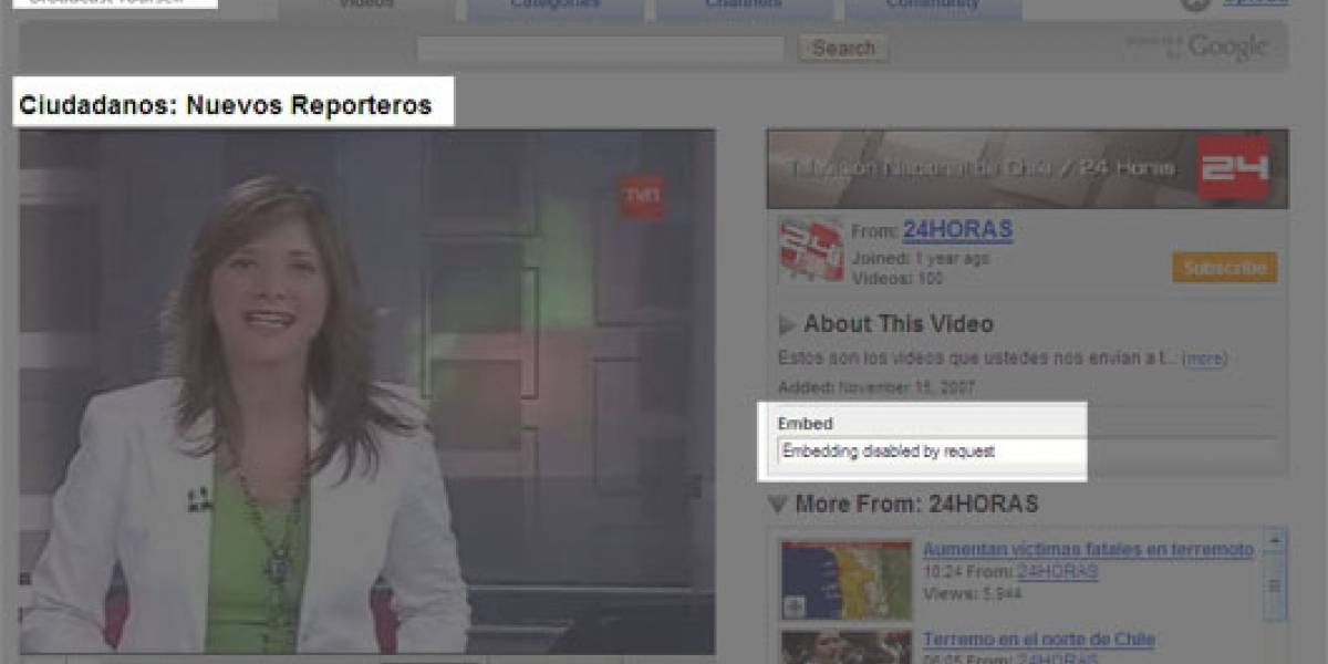 El terremoto, medios tradicionales y la Web 2.0: El caso TVN