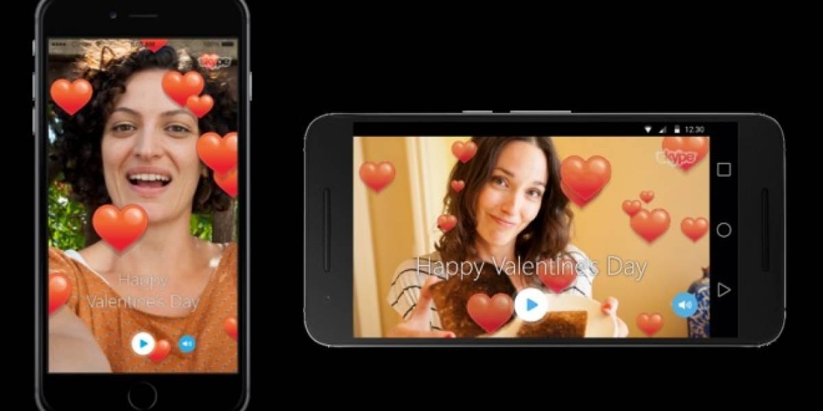 Skype te permite enviar videomensajes temáticos de San Valentín