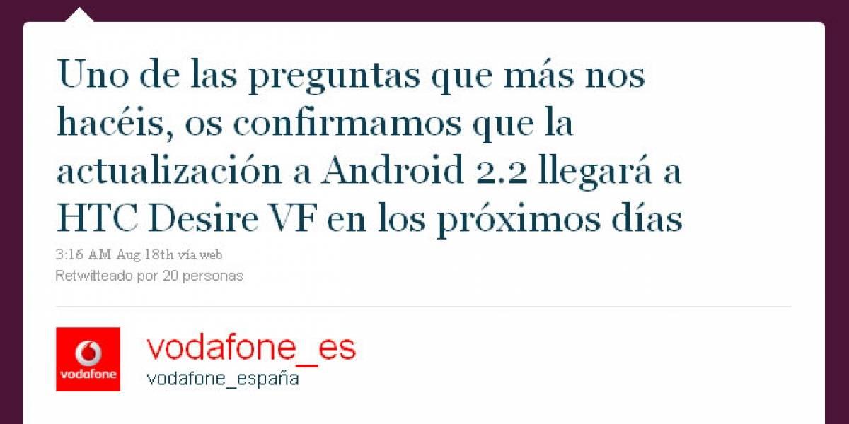 """Vodafone asegura que Froyo llegará """"en los próximos días"""" al HTC Desire"""
