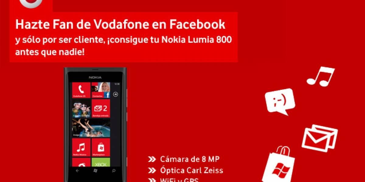 España: Vodafone venderá el Lumia 800 a través de Facebook