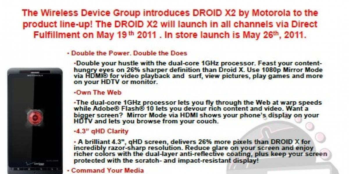 El Motorola Droid X2 llegaría a las tiendas este 26 de mayo