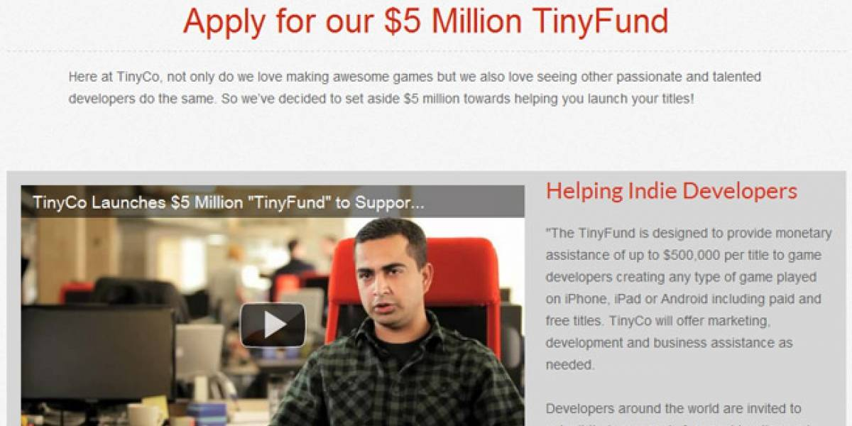 TinyCo lanza TinyFund, 5 millones de dólares para apoyar desarrollo de juegos