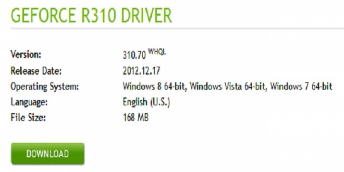 Controladores NVIDIA GeForce 310.70 WHQL a prueba