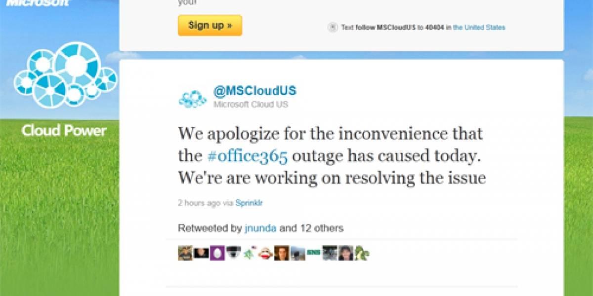 Servicio en la nube Microsoft Office 365 sufre caída