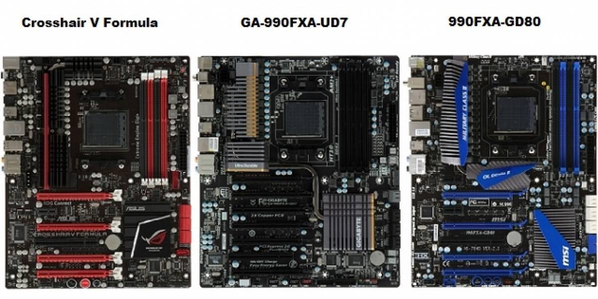 Bulldozer probado con tarjetas madre 990FX de Asus, Gigabyte y MSI