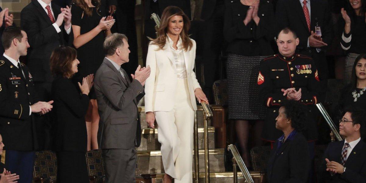 Melania Trump llegó sola al mensaje de su esposo, el presidente Donald Trump