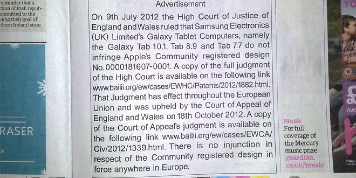Apple publica sus disculpas en Arial 14 en un periódico inglés