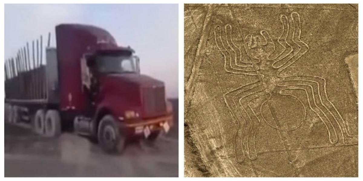 VIDEO. Un camión daña las milenarias líneas de Nazca, en Perú