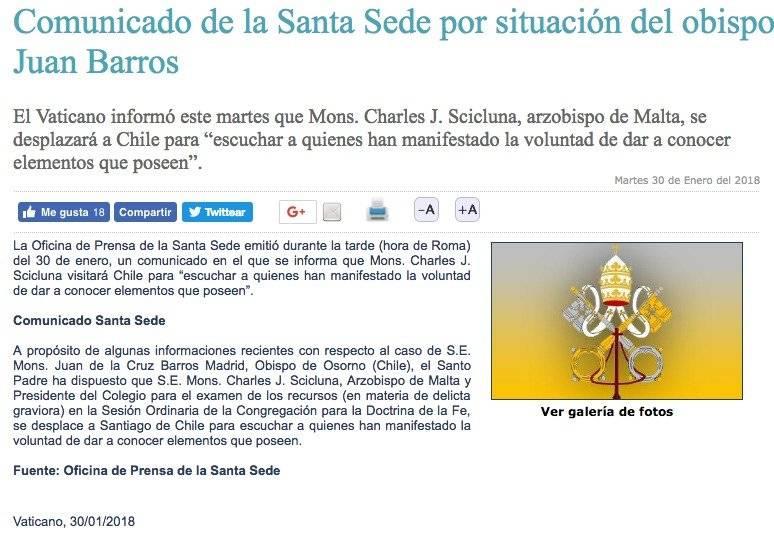 Comunicado desde el Vaticano