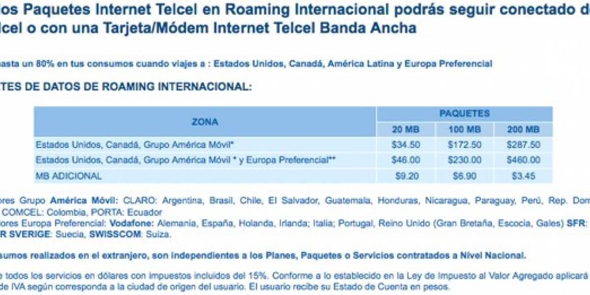 Telcel establece precios para el roaming internacional de datos
