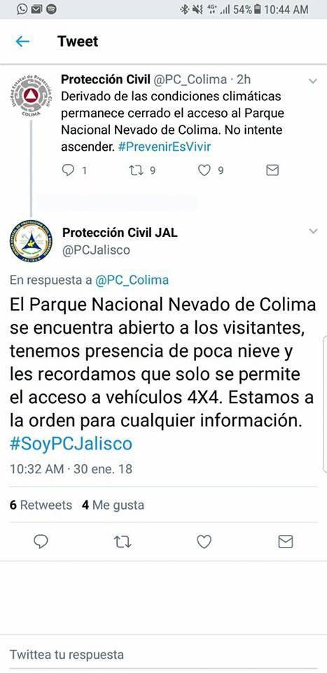 Nevado de Colima se pinta de blanco y espera a visitantes