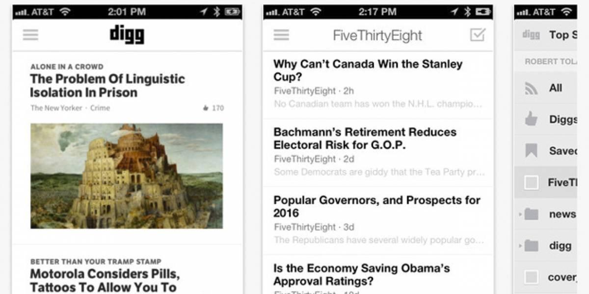 Lector de RSS de Digg llega a iOS y al navegador web para todo público