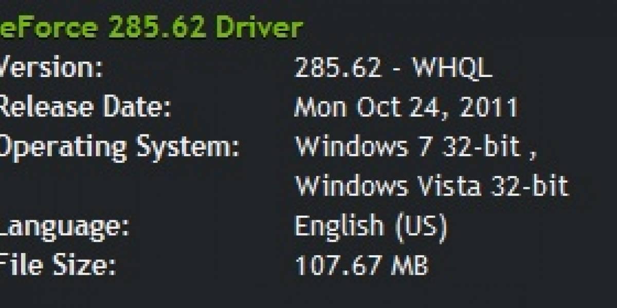 Nvidia Geforce/ION 285.62 WHQL a prueba