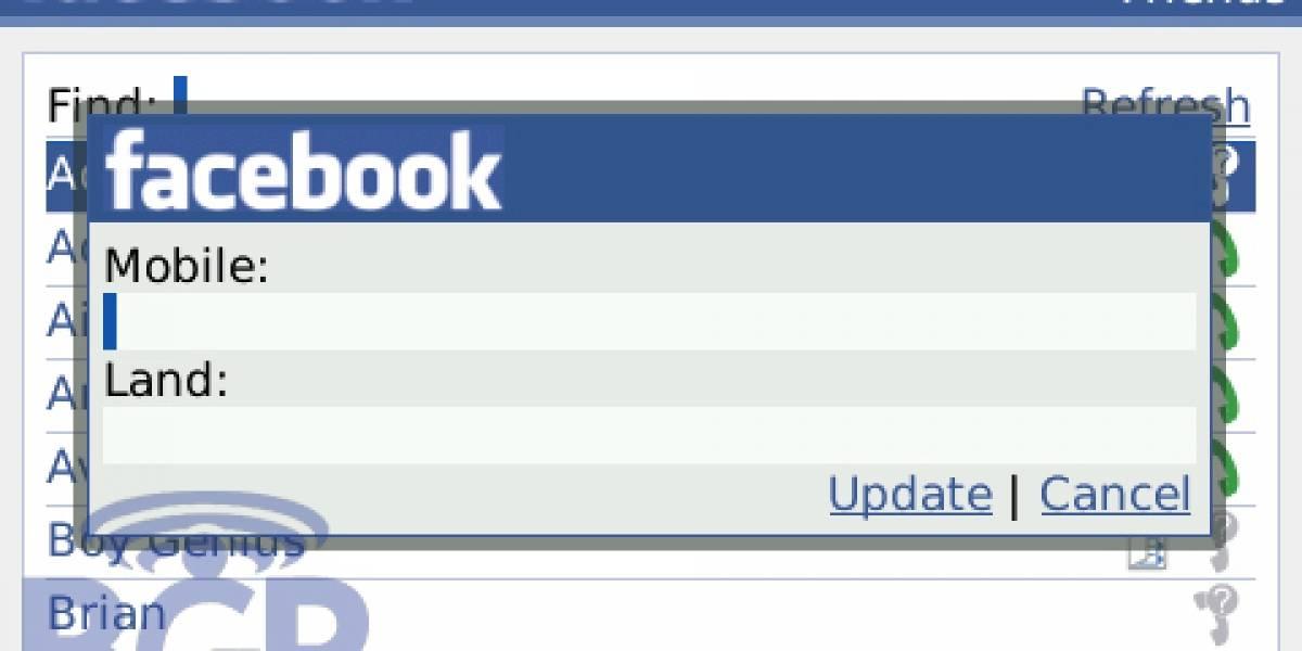 Primeras capturas de Facebook 1.5 para BlackBerry
