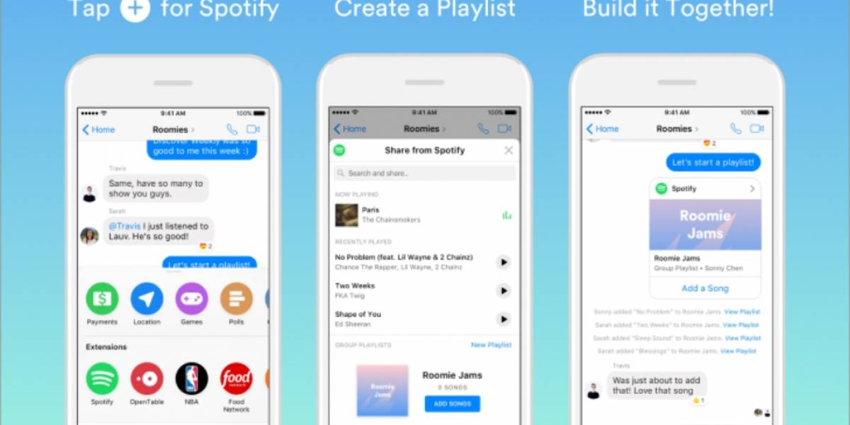 Ya puedes crear playlists colaborativas de Spotify en Facebook Messenger