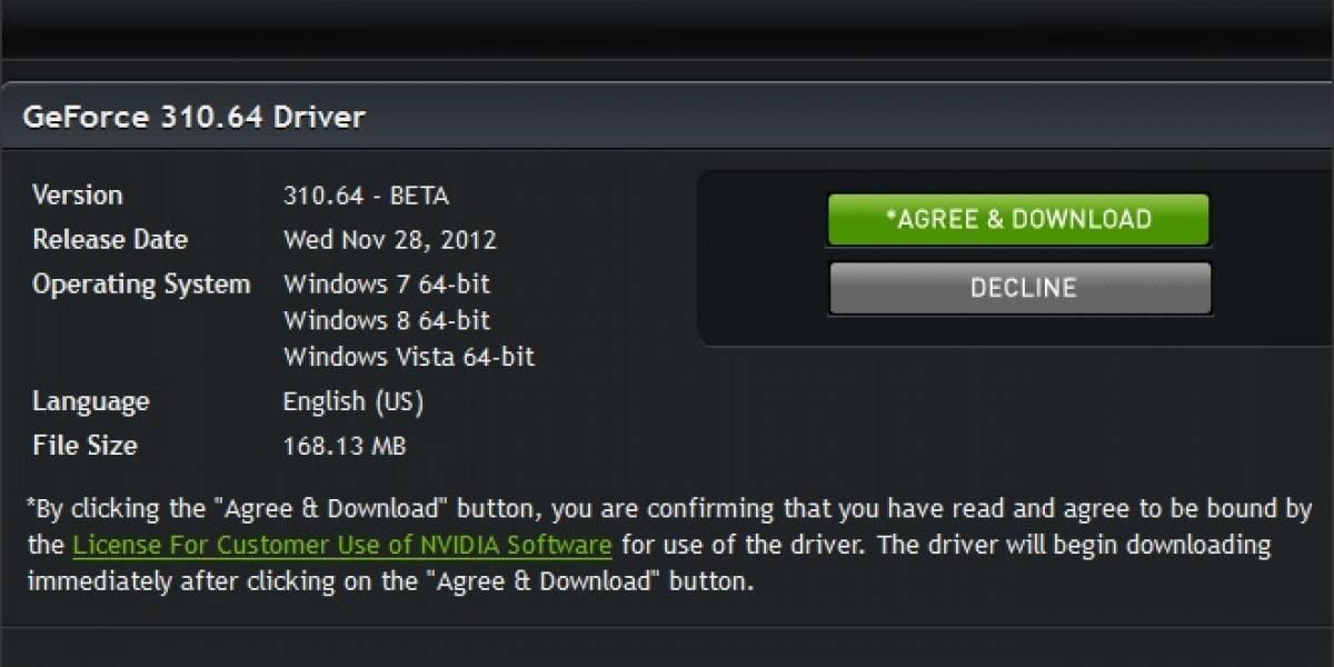 Nvidia lanza sus nuevos controladores GeForce 310.64 Beta