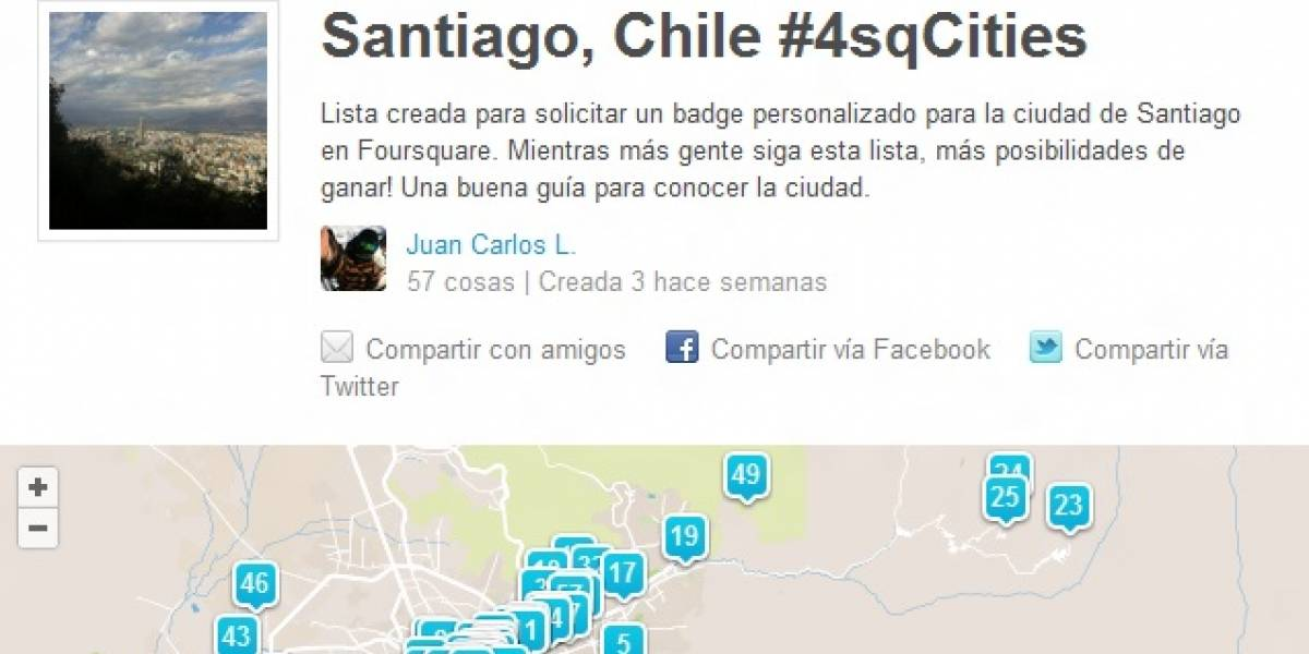 Santiago, Caracas, Ciudad de México y Montevideo entre las ciudades con nuevos 'Badges' en Foursquare