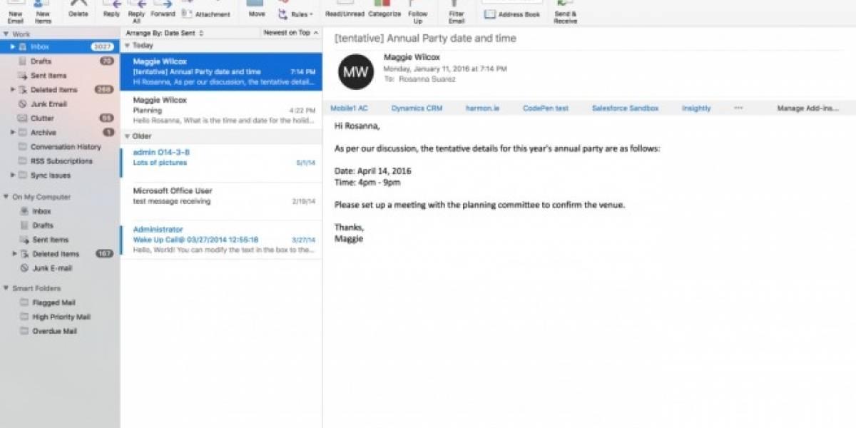 Outlook se actualiza en Mac OS con vista en pantalla completa