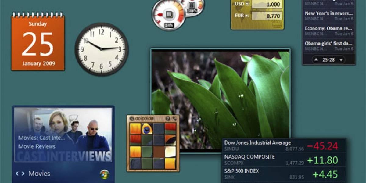Por tu seguridad, Microsoft recomienda deshabilitar los gadgets en Windows 7