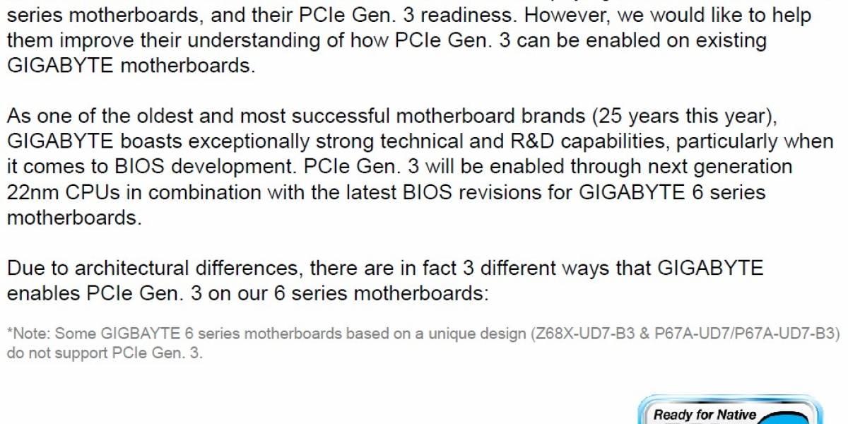 Gigabyte detalla implementación PCIe 3.0 en sus tarjetas madre Intel 6 Series