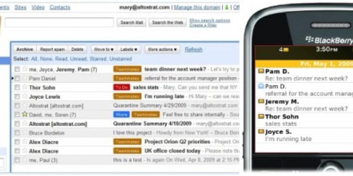 Google Apps se enlazará con BlackBerry Enterprise Server