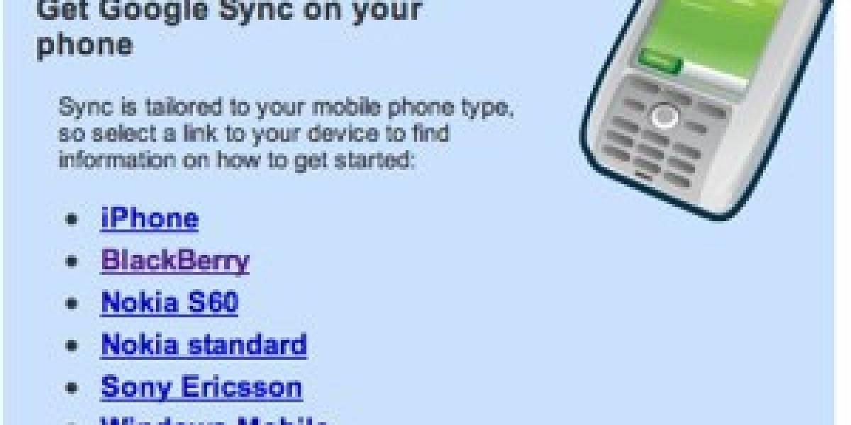 Disponible Google Sync beta para teléfonos celulares