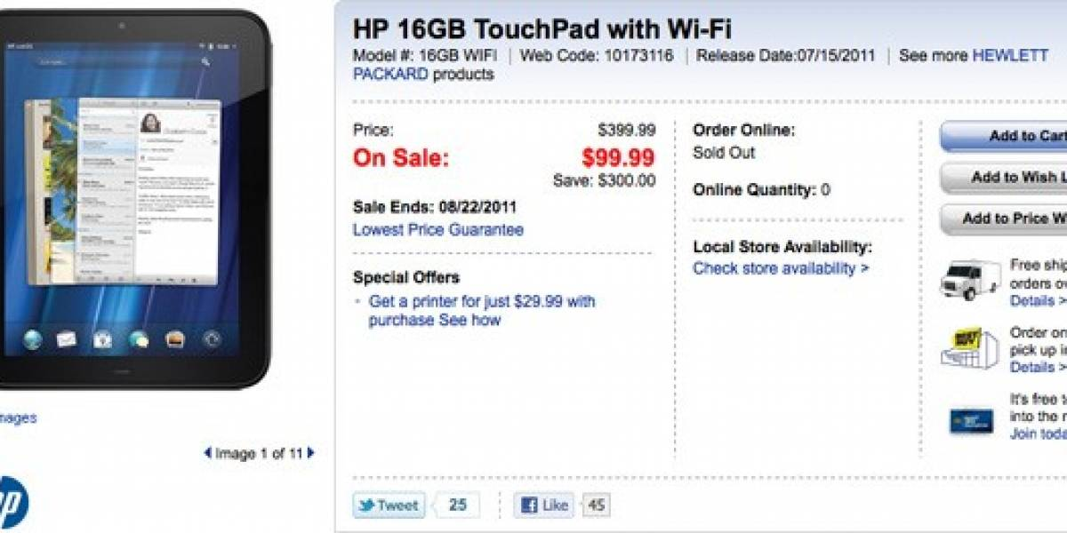 ¡Sacar a 100! HP TouchPad 16GB en oferta a tan sólo USD$99