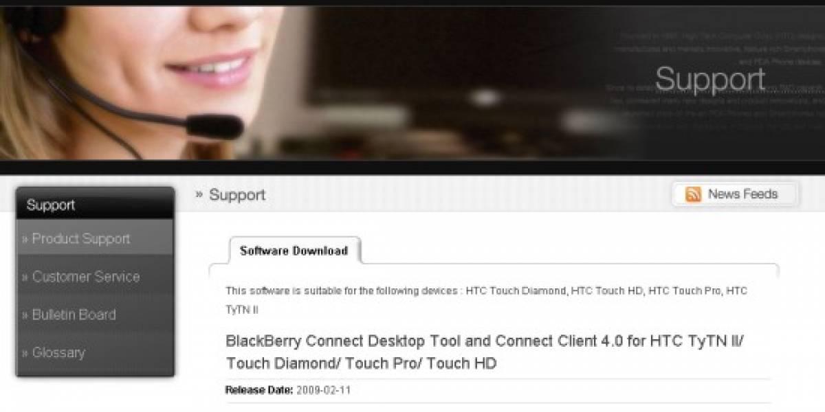 HTC ofrece aplicaciones para utilizar los servicios de RIM
