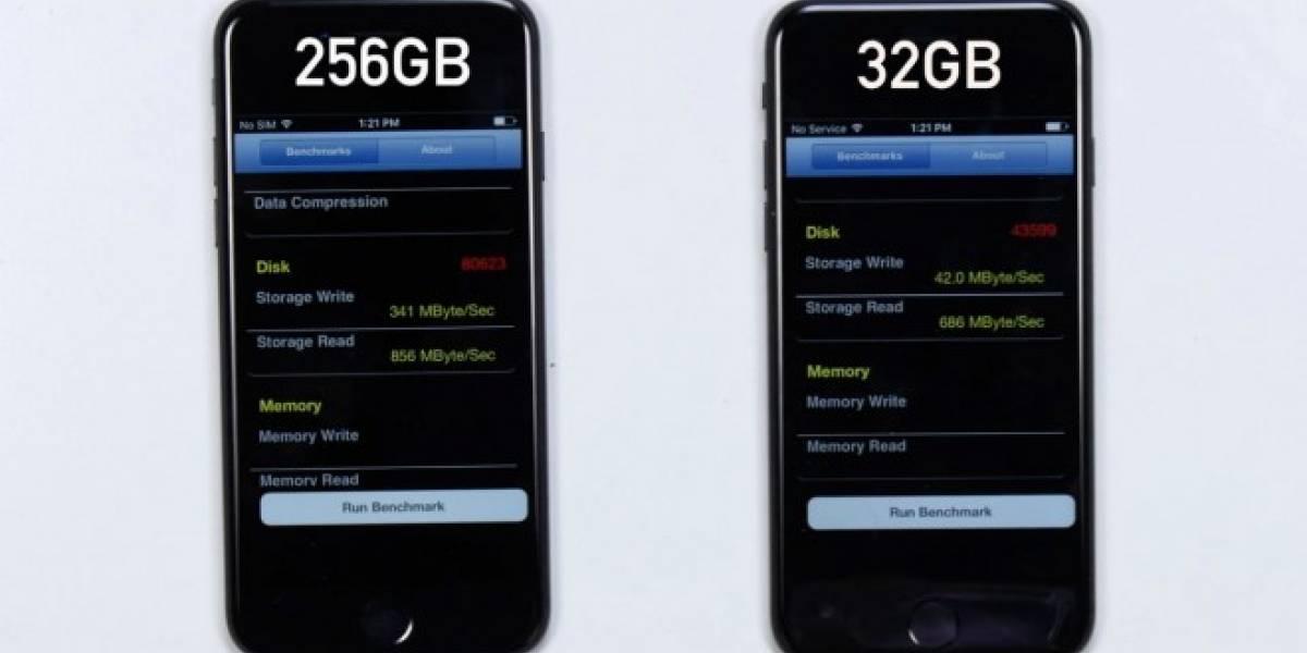 iPhone 7 de 32 GB es 8 veces más lento que el de 128 GB